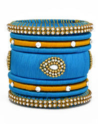 Blue and Yellow Silk Thread Bangle