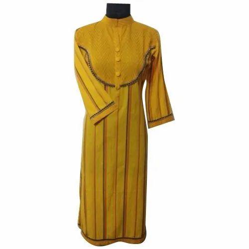 Cotton Casual Wear Ladies Fancy 3/4th Sleeves Kurti