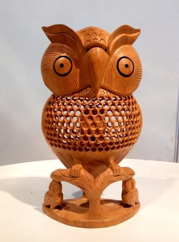 Rural Shades Carved Wooden Owl