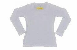 White 100 % Cotton 180 Gsm Plain Women's Full Sleeve T-shirt