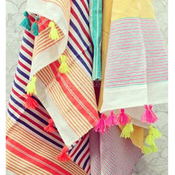 Multicolor Colorful Beach Blanket Tassel Hammam Cotton Fouta Turkish Towels