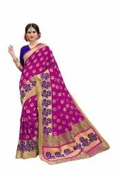 Banarasi Silk Rose Weaving Party Wear Traditional Wedding Wear Saree