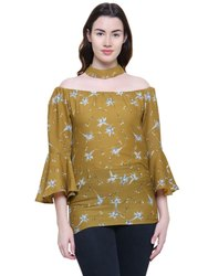 Printed Cotton Girls Off Shoulder Top, Packaging Type: Packet