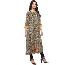 Yash Gallery Women's Cotton Kalamkari Print Anarkali Kurta