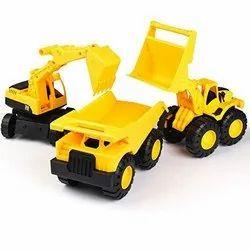 Plastic Sanchi Creation JCB Construction Vehicles Set For Kids Pack of 3