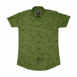 Printed Collar Neck Men''s Half Sleeve Shirts, Machine Wash