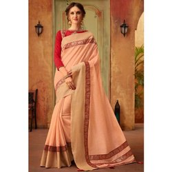 Peach Designer Party Wear Cotton Silk Saree