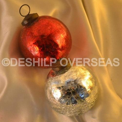 Silver Crackle Ornaments