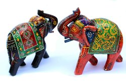 Wooden Indian Traditional Painted Elephant Colorful Elephant Statue and Figurine for Home Decor
