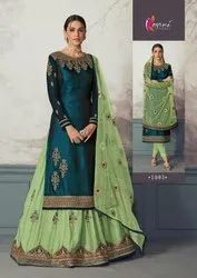 Party Wear Designer Georgette Satin Heavy Embroidered Suit