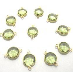 Green Amethyst Gemstone Connector