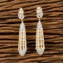 White Cz Classic Earring With Two Tone Plating 405605