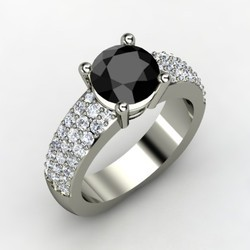 Solitaire Black With White Diamond Ring