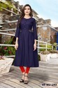 Anarkali Casual Wear Designer Plain And Embroidered Rayon Blue Full Stitched Kurti