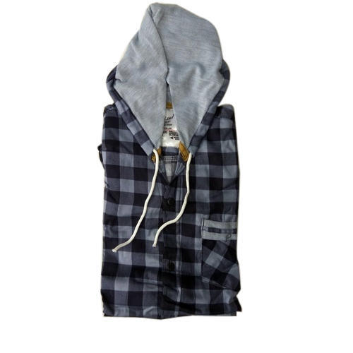 Cotton Checks Men Check Hooded Shirt 8540f06a9c2c