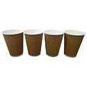Brown 16 Oz (450ml) Disposable Ripple Paper Coffee Cup