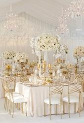 Modern Cross Back Gold Metal Wedding Chair