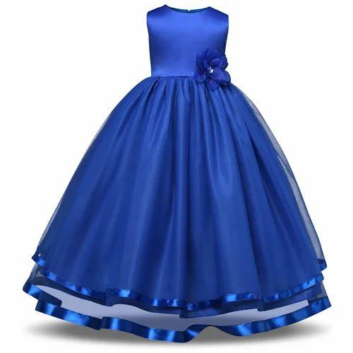 11f12cbe380 Blue Kids Fancy Gown