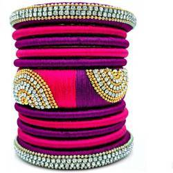 Pink And Purple Silk Thread Bangles Set