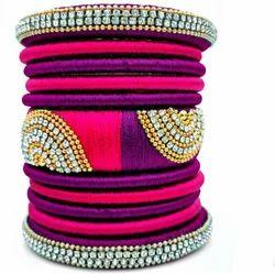 Pink And Purple Silk Thread Bangles Set