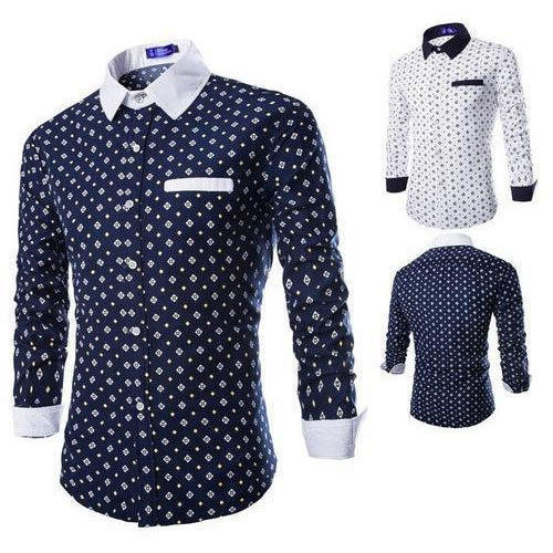 7676e49505 Navy Blue And White S And L Mens Dot Printed Shirt, Rs 350 /piece ...
