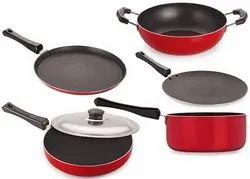 Black Nirlon Non-Stick Aluminum Cookware Set, 5-Pieces