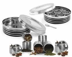 Stainless Steel Spice Box with Steel Lid And 7 Containers and 1 Spoon for Home/Office/Kitchen