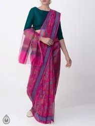 Unnati Silks 5.40 Mtr (without Blouse). Supernet Saree With Block Prints, Length: 5.40 Mtr (without Blouse)., Embroidery: Yes