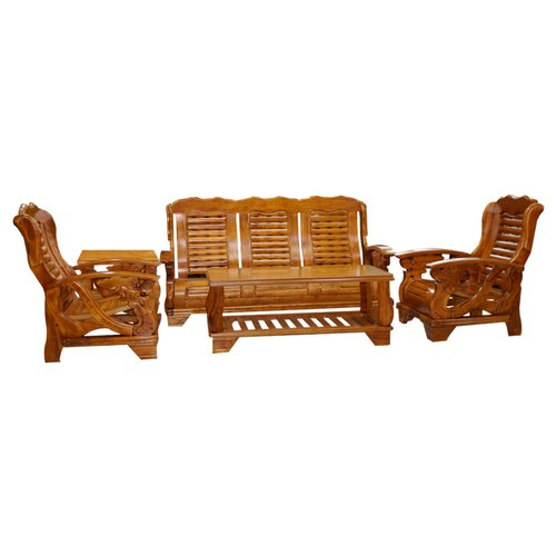 Modern Wooden 5 Seat Sofa Set