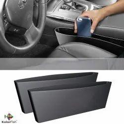 Black Leather Car Seat Side Pocket Catcher Interior Organiser Gap Filler