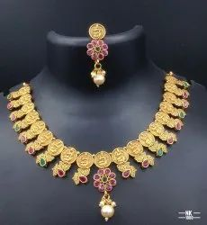 Matte Finish Copper Laxmi Temple Jewellery Set - NK 2001