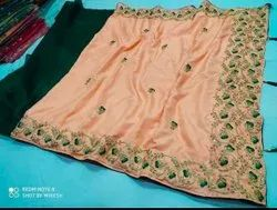 Party Wear Ladies Mirror Work Saree, With blouse piece, 5.5 m (separate blouse piece)