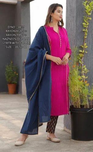 Straight Designer Pink Kurti