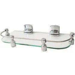 Ss, Glass Silver, Transparent Bathroom Glass Corner Shelf, Packaging Type: Box