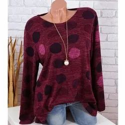Round Neck Casual Wear Girls Woolen Printed Tops, Size: S to XL