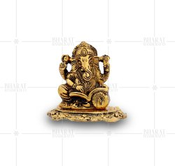 Gold Plated Reading Ganesh Statue