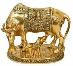 Large Gold Elegant Kamdhenu Cow and Calf Metal Statue Spiritual Showpiece Figurine Sculpture