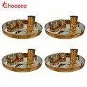 Choozee - Copper Thali Set Set of 4 (20 Pcs) of Thali, Bowl, Spoon & Glass