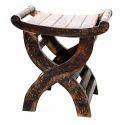 Natural Rectangular Wooden Side Stool