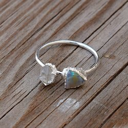 925 Sterling Silver Herkimer And Opal Gemstone Finger Ring