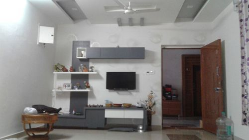Designer Living Room TV Stand & Wooden L Shape Cabinets Architect ...