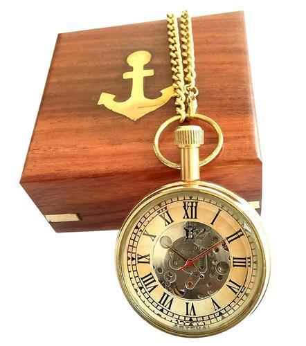 cbfce1dc8 Men' s Designer Analogue Off-White Mechanical Pocket Watch with Wooden Box