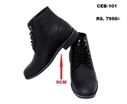 Celby Sharp Black Color Boot With Side Zipper Hidden Heel Height Increasing Elevator Shoes For Men