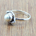 BEAUTIFUL 925 STERLING SILVER JEWELRY NICE PEARL GEMSTONE RING WR-5042