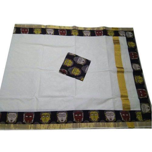 6c7ef5e26fdf4 Multicolor Party Wear Kerala Cotton Kalamkari Patchwork Saree ...