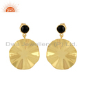 Black Onyx Gemstone Wavy Disc Gold Plated Silver Earrings