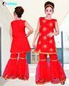 Red Sharara Kids Dress