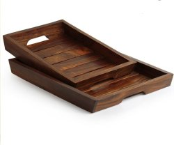 Rectangular Natural Wood Twin wooden tray, For Home