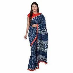 Casual Wear Ladies Block Print Cotton Saree, 5.2 m Separate Blouse Piece
