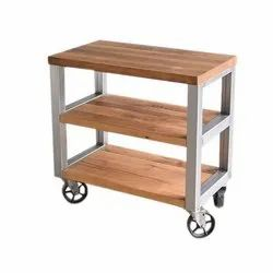 Brown Reclaimed Wood Rolling Cabinet for Hotel